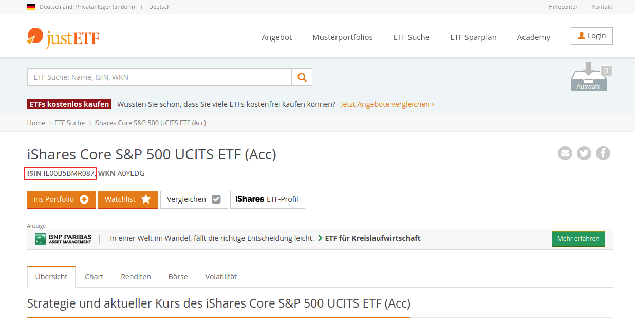 JustETF page for iShares Core S&P 500 UCITS ETF (Acc) with ISIN highlighted