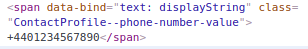 Screenshot of Web Skype html code without &#8234\; and &#8236\; around the number.